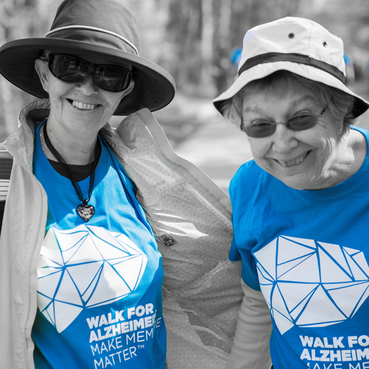 Two happy senior women at their Investors Group Walk for Alzheimers